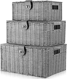 XUYI Arpan Lot de 3 boîtes de Panier de Rangement tissées en résine avec Couvercle et Serrure, Gris