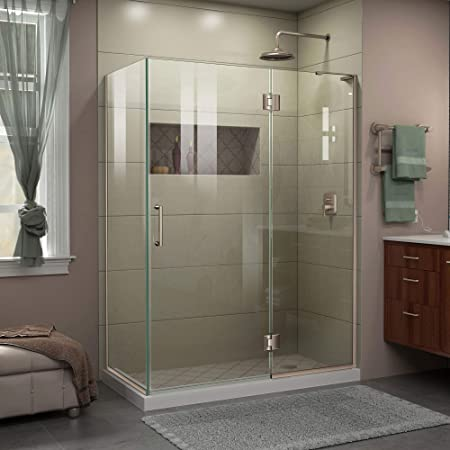 Dreamline Unidoor X 48 3 8 In W X 30 In D X 72 In H Frameless Hinged Shower Enclosure In Brushed Nickel E32430r 04 Amazon Com