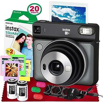 Fujifilm instax Square SQ6 Instant Film Camera (Graphite Gray) + 20 Sheets Instant Square Film + Xpix Camera Strap + Fibertique Cloth (USA Warrantty)