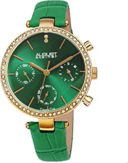 August Steiner Multifunction Crystal Women's Watch - Crystal Bezel, 3 Subdials on Sunray Diamond Dial on Genuine Alligator...