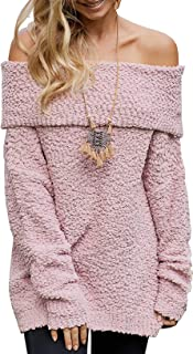BTFBM Women Elegant Off Shoulders Fuzzy Warm Sherpa Fleece Popcorn Knit Long Sleeve Loose Sweaters Pullover Tops