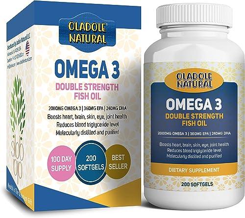 Oladole Natural Omega 3 Fish Oil 2000 mg 360 EPA 240 DHA double strength, Boosts heart, brain, skin, eye, joint healt...