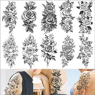 VANTATY 10 Sheets 3D Big Rose Peony Flower Girls Temporary Tattoos For Women Waterproof Black Tattoo Stickers 3D Blossom Lady Shoulder Tatoos Leaf DIY Costom Sexy Arm Chains Pattern.