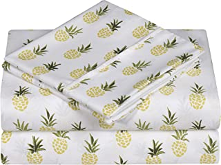 Swift Home Caribbean Joe Ultra-Soft Double Brushed 4-Piece Microfiber Sheet Set. Beautiful Tropical Patterns, and Vibrant Solid Colors, Luxury, All-Season Bed Sheet Set - Pineapple, King