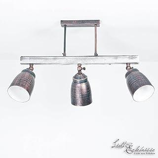 Impresionante lámpara de techo en blanco Shabby Blanco Negro/Verde Patina Vintage Design 3x E27 hasta 60 vatios 230V metal y madera Cocina Comedor Lámparas Interior de la lámpara