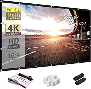 Mdbebbron 150 inch Projection Screen 16:9 Foldable Anti-Crease Portable Projector Movies Screen for Office Home Theater Ou...