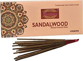 raajsee Sandal Wood Incense Sticks 100 gm,100% Pure Organic Natural Hand Rolled Free from Chemicals-No Dipping -Perfect for Church,Aroma Therapy,Relaxation,Meditation,Positivity,Healing 100 gm Pack