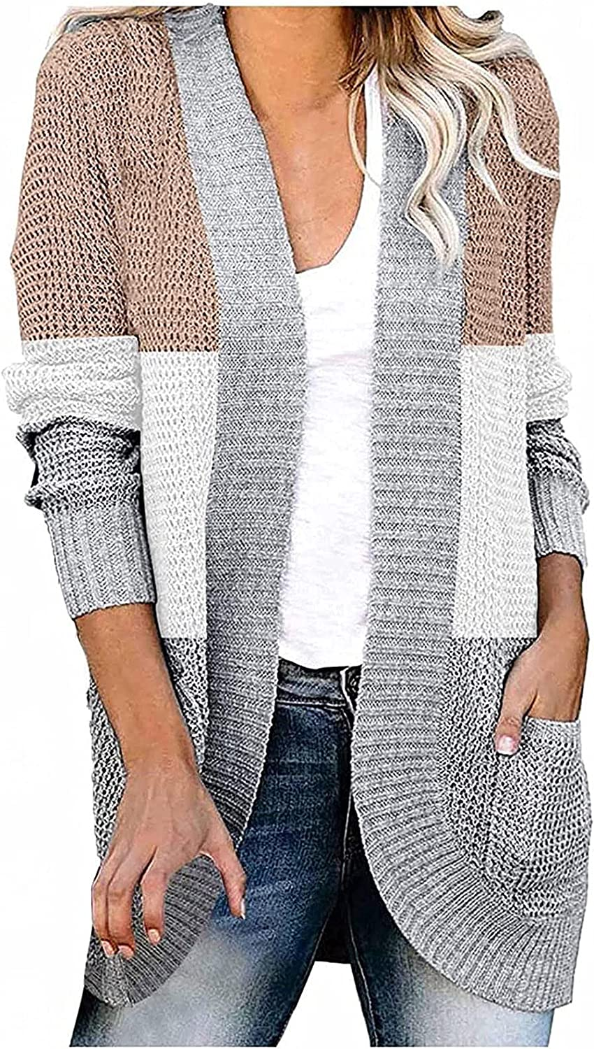 RFNIU Womens Boho Cardigan Sweater Fall Color Block Long Sleeve Open Front outerwear With Pockets Casual Knit Kimono Tops