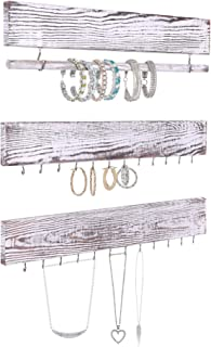 Rustic Jewelry Display Organizer for Wall – Wall Mounted Jewelry Holder Organizer with Removable Bracelet Rod and 24 Hooks – Perfect Earrings, Necklaces and Bracelets Holder – Vintage Jewelry Display