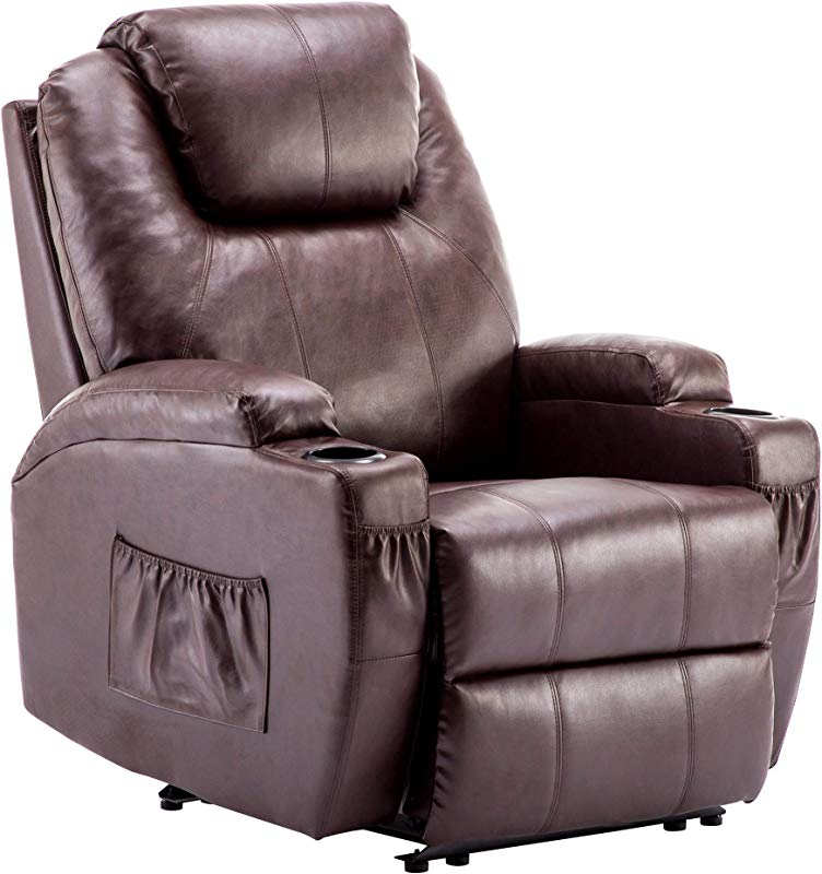 Power Recliner Massage Ergonomic Sofa Vibrating Heated Lounge Chair Faux Leather Dual Cup Holders 7050 Dark Brown