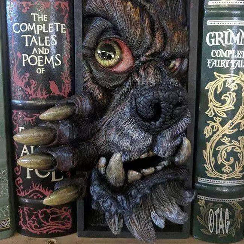 BLI BYAN SUSIMOND-Peeping Bookshelf Monster, Peeping on The Bookshelf Personalized Bookends, Creative Resin Decorative Bookends Monster, Decorative Book Ends for Home Office Book Shelf Holder (K)