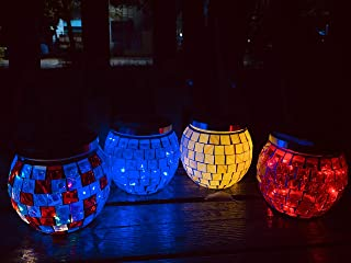Nurluce Garden Lights 4 Pack Battery Operated Lights Night Light Desk Lamp Table Lamp for Night Table Dusk to Dawn Led Outdoor Lighting Mosaic Lamp Lights Birthday Gifts for Women