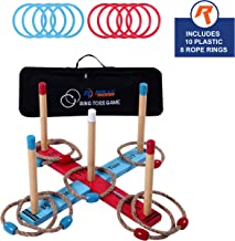 Outdoor Ring Toss Game by Rally and Roar for Adults and Families - Rings Tossing Set, Plastic and Rope, Jumbo Pieces for Outside Family Activities - Ring Toss Sets for Yard, Law, Backyard, Parties