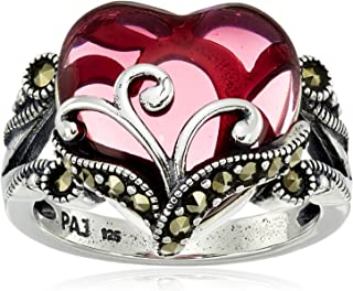 Sterling Silver Oxidized Marcasite and Gemstone Colored Glass Filigree Heart Ring, Size 7