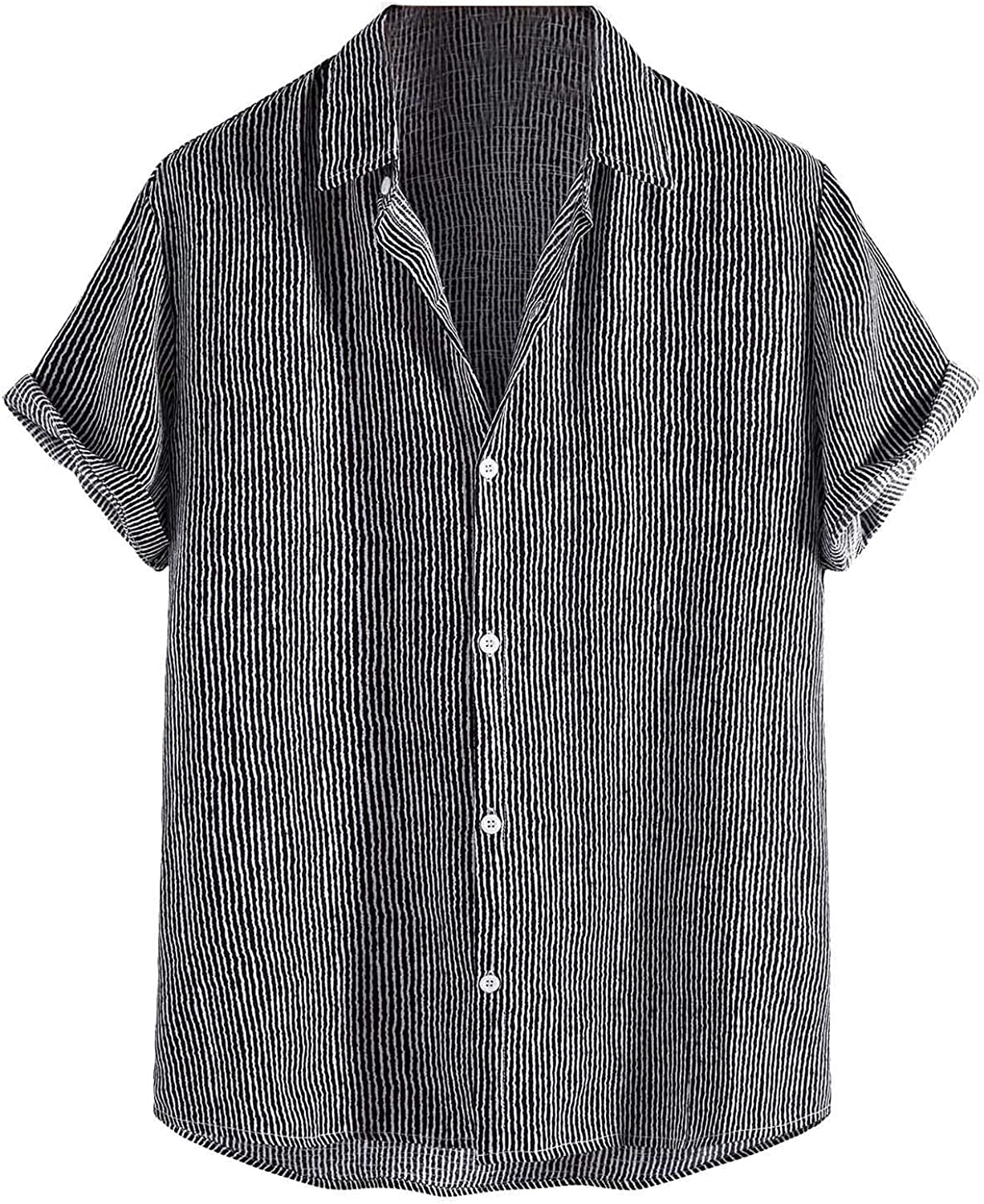 Mens Casual Button Down Shirt Roll Up Short SleeveLoose Vintage Stripe Blouse Summer T-Shirt for Men