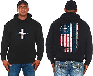 JH DESIGN GROUP Men's Ford Mustang Distressed U.S. Flag 2-Sided Pullover Hoodie