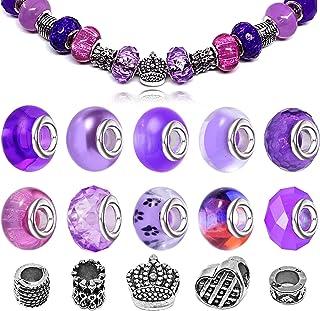 Purple Glass Beads Aqua Beads Silver Charms Bracelet Stethoscope Charms Clear Beads Memory Wire Bracelet Jump Rings Purple Beads