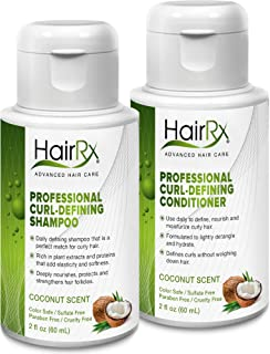 HairRx Professional Curl-Defining Shampoo & Conditioner Travel Set, Light Lather, Coconut Scent, 2 Ounce Bottles