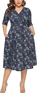 Eternatastic Women's Pocket Design Short Sleeve Floral Maxi Long Dress