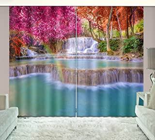 LB Nature Scenery 3D Window Curtains for Living Room Bedroom,Red Leaf Waterfall Scene Room Darkening Window Treatment Blackout Window Drapes 2 Panels,28 x 65 inch Length