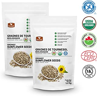 Basse Organic Sunflower Seeds, Gluten-Free – Kosher Certified 2 Resealable Bags (2.6 Pounds each)