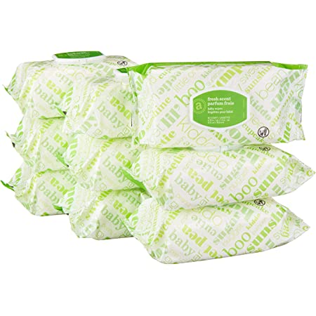 Amazon Elements Baby Wipes, Fresh Scent,White 720 Count Flip-Top Packs