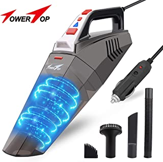 Car Vacuum, Car Vacuum Cleaner DC 12V 5500PA Powerful Suction Handheld Vacuum Cleaner Wet/Dry Portable Auto Vacuum Cleaner with 16.4FT Power Cord, LED Light for Car Cleaning