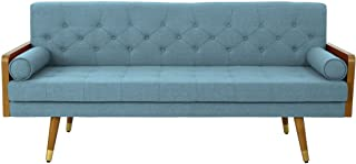 Christopher Knight Home Aidan Mid Century Modern Tufted Fabric Sofa, Blue