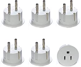 Orei American USA to European Schuko Germany Plug Adapters CE Certified Heavy Duty - 6 Pack - Perfect for Travelling with Cell Phones, Laptops, Cameras & More