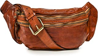 Campomaggi Men's Leather Mock Croc Waist Bag Brown