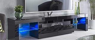 MMT Furniture Designs TS1706V2 Black Meuble TV, Bois de Construction, Noir, 200cm(w) x 40cm(d) x 45cm(h)
