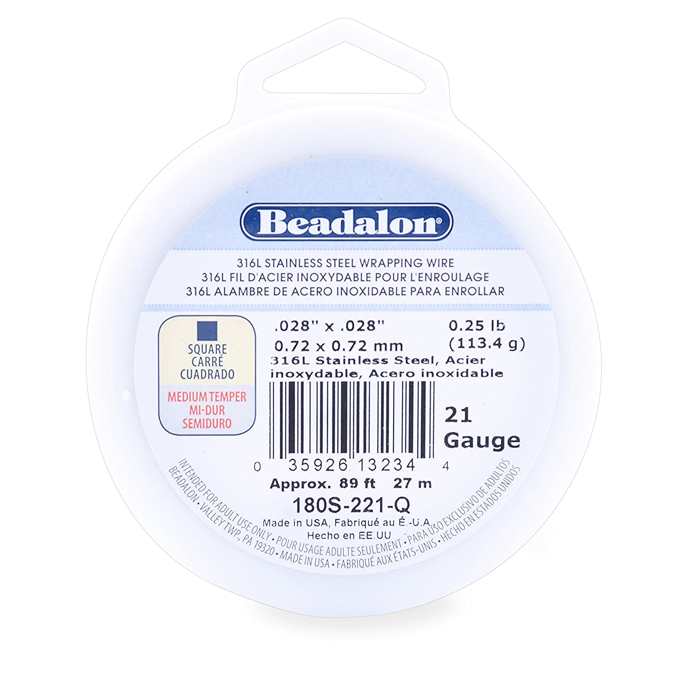 Beadalon 316L Stainless Steel Wrapping Wire, Square, 21 Gauge, 89 feet, 1/4 Pound