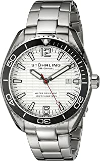 Stuhrling Original Men's 515.01 Aquadiver Regatta Endeavor Swiss Quartz Date Stainless Steel Bracelet Watch