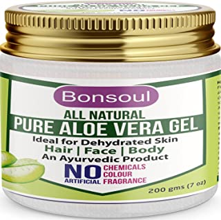 BONSOUL All Natural and Pure Aloe Vera Gel   99% Aloe Vera   Ideal for Dehydrated Skin   Hair, Face and Body (200 GMS)