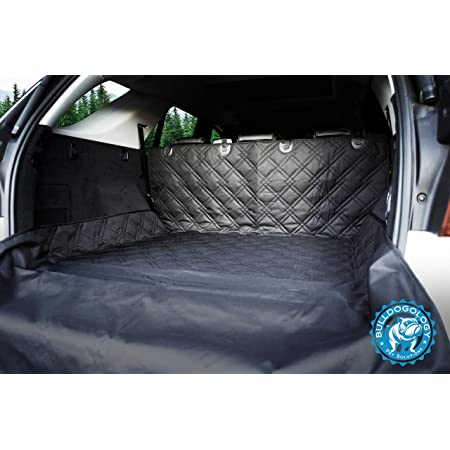 Bulldogology Premium SUV Cargo Liner Seat Cover for Dogs - Heavy Duty Durability, Waterproof, Nonslip Backing, Washable, with Bumper Flap Protection (Universal Fit)
