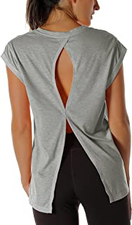 icyzone Open Back Workout Top Shirts - Yoga t-Shirts Activewear Exercise Tops for Women