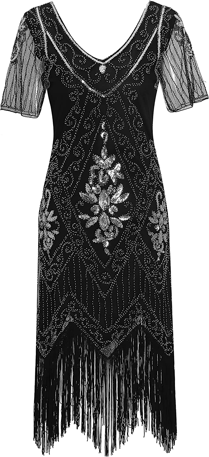 Radtengle free Women's We OFFer at cheap prices 1920s Flapper Dress Dres Beaded Fringed Gatsby