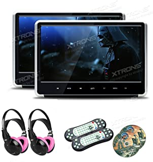 XTRONS Silver 2×11.6 Inch 19201080 IPS Display 1 Pair HD Digital Touch Panel Car Auto Headrest Active DVD Player Kid Games...
