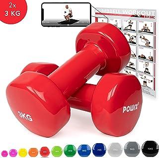 POWRX Mancuernas Vinilo 0,5-10 kg - Ideal para Entrenamiento en casa y Gimnasio - Peso y Color a Elegir + PDF Workout