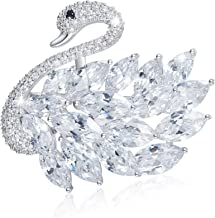 Swan Brooch Pins for Women, White Swan Pins Crystal Brooch for Party, Gifts for Valentine`s Day