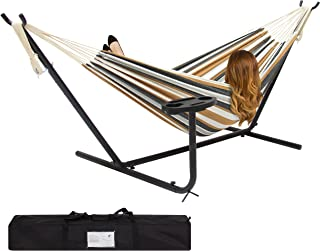 Best Choice Products Outdoor Double Hammock Set w/ Steel Stand, Cup Holder, Tray, and Carrying Bag - Desert Stripe