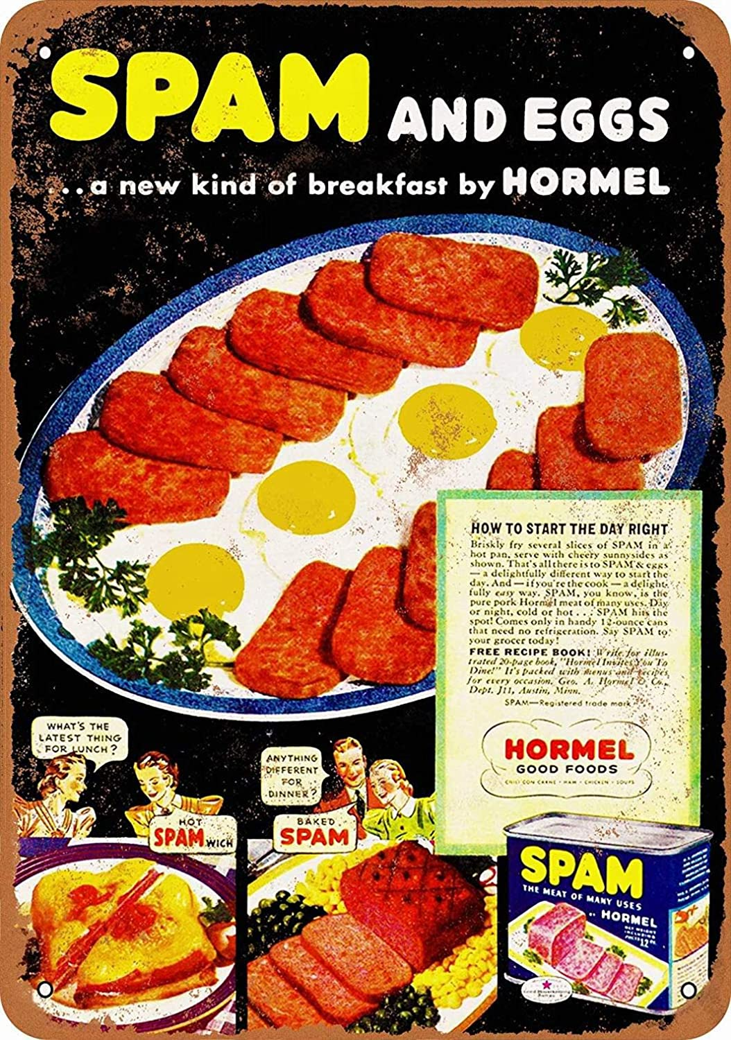 LoMall 8 x 12 Metal Sign - Hormel Spam Eggs - Vintage Wall Decor