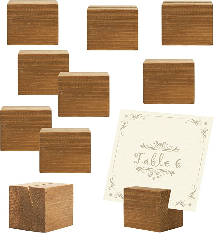 MyGift 10 Piece Rustic Natural Wood Rectangular Table Place Card Holders Beige