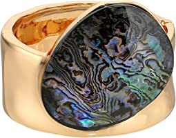 Robert Lee Morris Abalone and Gold Kick Hinge Bangle