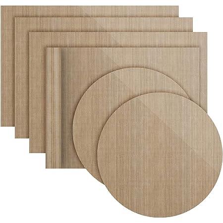 Lot de 6 Papiers de Cuisson Réutilisables Antiadhésifs Durables, Compatibles Lave-Vaisselle, Découpables   Tapis de Cuisson, Feuilles de Cuisson durables (4 carrés 36 * 42cm+2 x Rondes diam 38 cm)