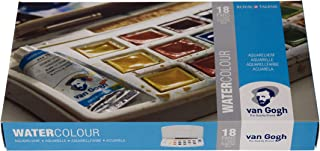 Van Gogh Watercolor Paint Set, Plastic Pocketbox, 18-Half Pan + 2x10ml
