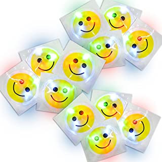 ArtCreativity Light Up Smiley Face Sticker with Pre-Installed Batteries 3 Inch LED Happy Emoji Stickers Lighting Decals for Closet, Bedroom, Wall Décor and More - Great Party Favor