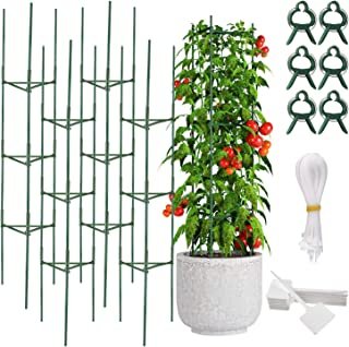 FEPITO 4 Pack 64 inch Tomato Cages Assembled Garden Plant Support Stakes for Climbing Plants Vegetables Flowers Fruits Vin...