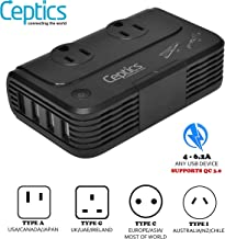 230 W Voltage Converter by Ceptics, Convert 220 V to 110V for Devices Like Curling Iron, Straightener, Chargers, Step Down World Power Plug - 4 USB Charging Fast QC 3.0 - EU/AU/UK/US Included