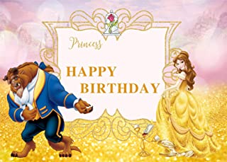Happy Birthday Beauty and The Beast Background Photo Props Cartoon Character Pincess Wild Animal for Children Studio Birthday Party 7x5FT